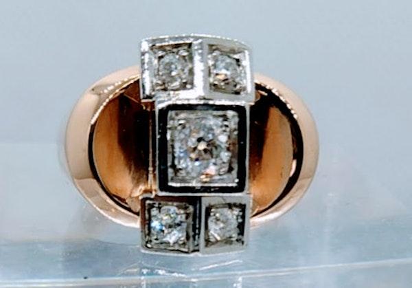 French Retro Rose Gold Diamond Ring - image 2