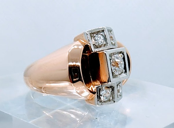 French Retro Rose Gold Diamond Ring - image 3