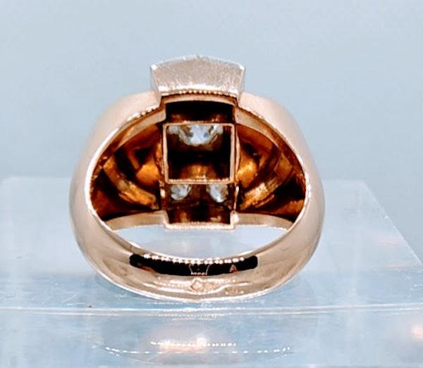 French Retro Rose Gold Diamond Ring - image 4