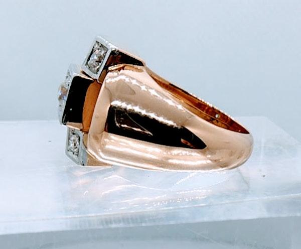 French Retro Rose Gold Diamond Ring - image 5