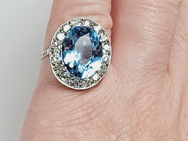 Natural Brazilian art deco blue topaz ring sku 4972 DBGEMS - image 4