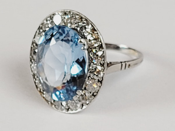 Natural Brazilian art deco blue topaz ring sku 4972 DBGEMS - image 2