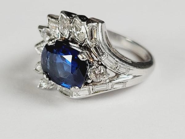 Stunning Sapphire and Diamond stylised feather ring sku 4974  DBGEMS - image 2