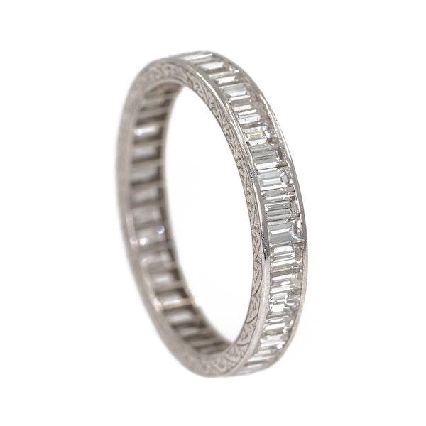 Platinum set diamond baguettes full eternity ring - image 2