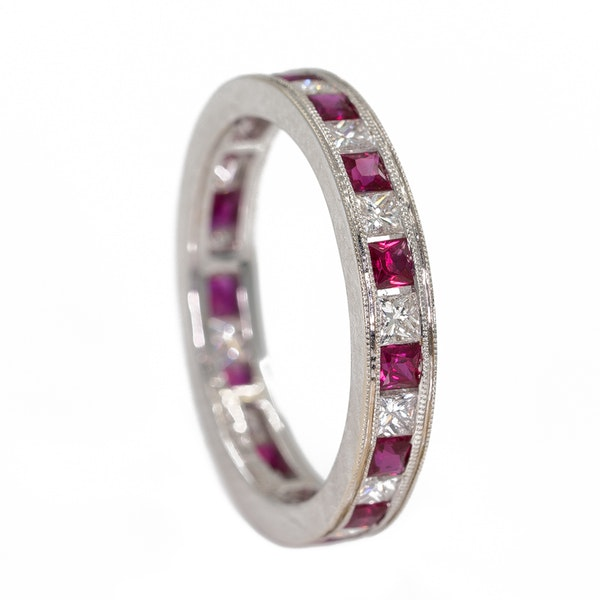 Diamond and ruby full eternity ring - image 2