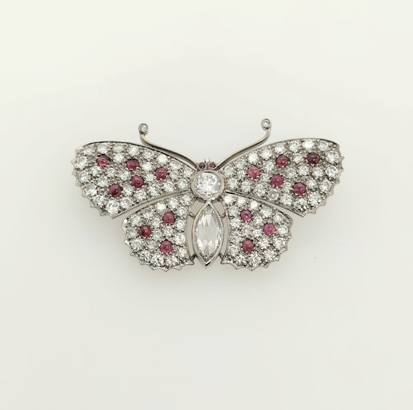 Diamond and ruby cabouchon butterfly brooch - image 1