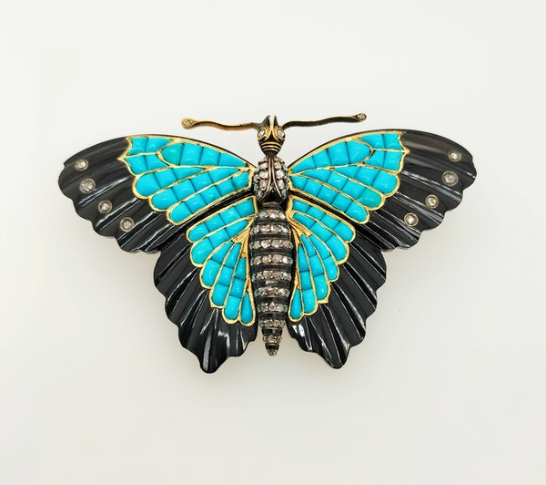 French turquoise and onyx diamond butterfly - image 1