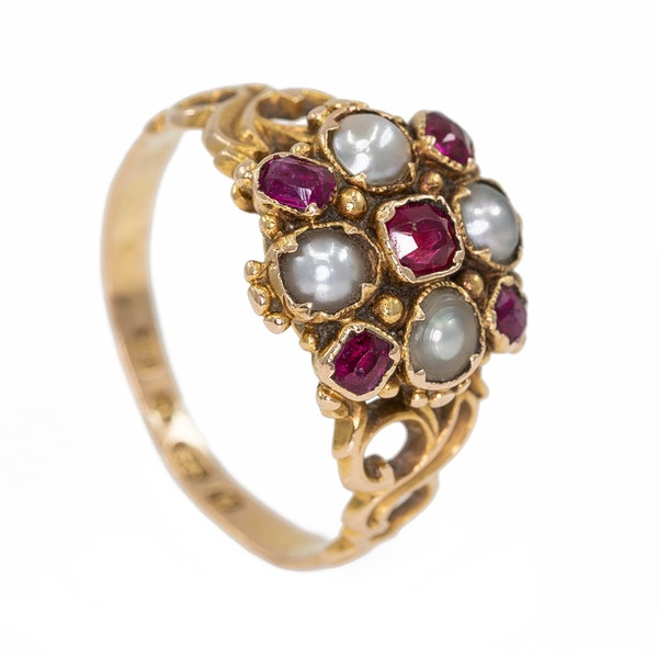 Victorian ruby and pearl cluster ring - image 2