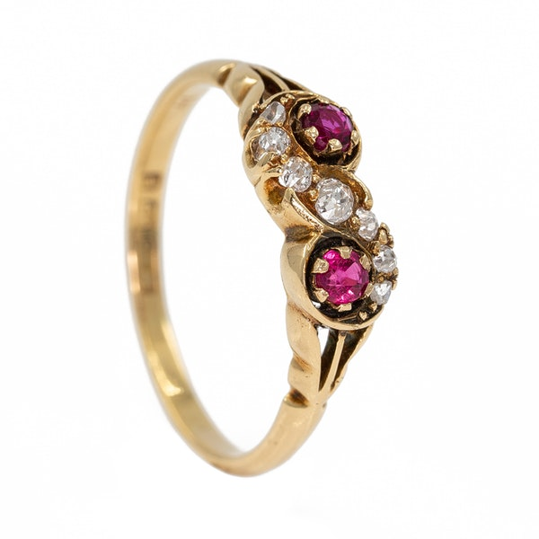 """Victorian ruby and diamond """"twist"""" ring - image 2"""