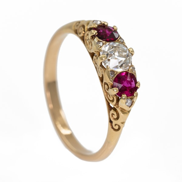 Ruby and diamond three stone half hoop carved ring with diamond points - image 2