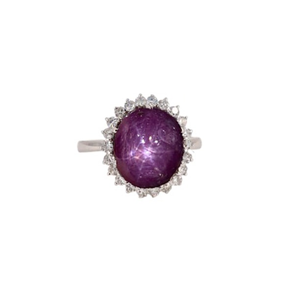 Star Ruby Cluster Diamond Ring in 18ct White Gold date circa 1960 SHAPIRO & Co since1979 - image 1
