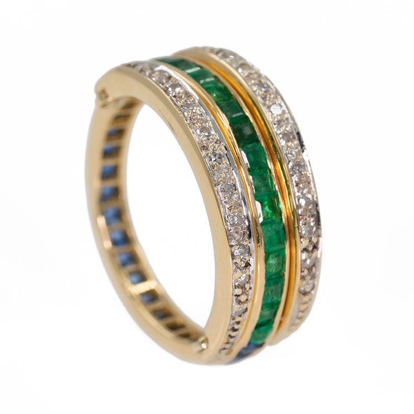 """Flip over """"day/night"""" emerald, sapphire and diamond ring - image 2"""