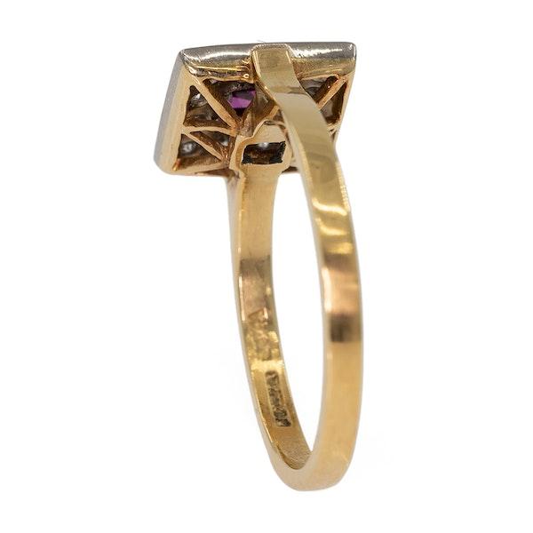 Retro diamond and ruby square ring - image 3