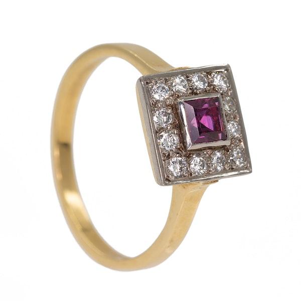 Retro diamond and ruby square ring - image 2
