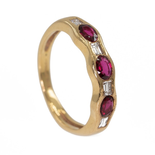 Ruby and diamond 7 stone half hoop gold ring - image 2