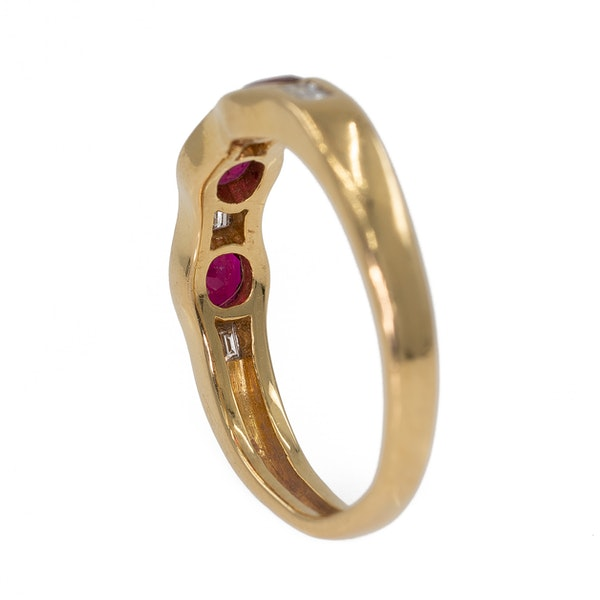 Ruby and diamond 7 stone half hoop gold ring - image 3