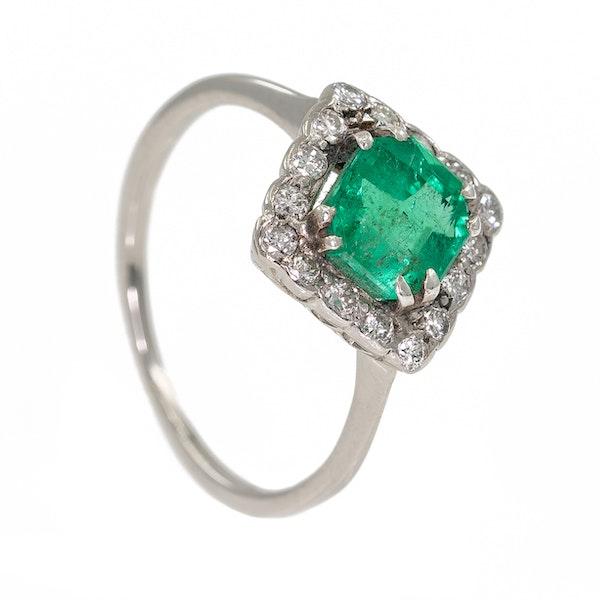 Emerald and diamond Art Deco rhombic shape ring - image 2