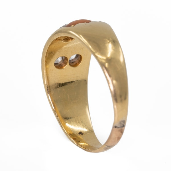 Antique half hoop coral and diamond ring - image 3
