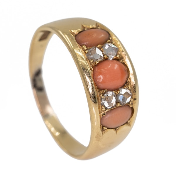 Antique half hoop coral and diamond ring - image 2