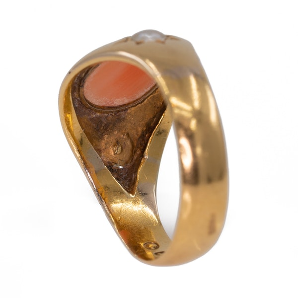 Antique  coral and pearl three stone ring - image 3