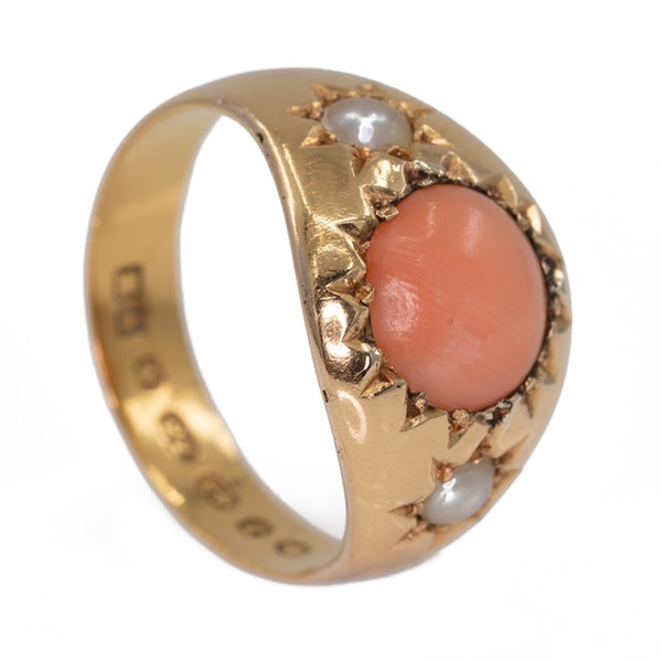 Antique  coral and pearl three stone ring - image 2
