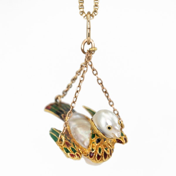 Baroque natural pearl and enamel model of a bird on a later gold chain - image 2