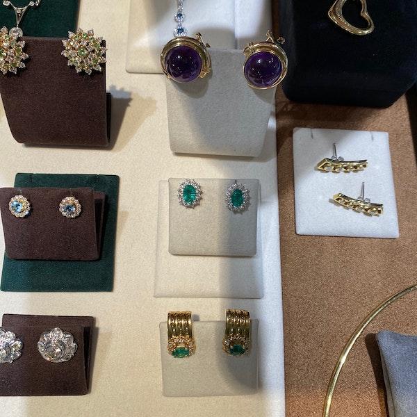 Emerald Diamond Cluster Earrings in 18ct White Gold date circa 1980, SHAPIRO & Co since1979 - image 5