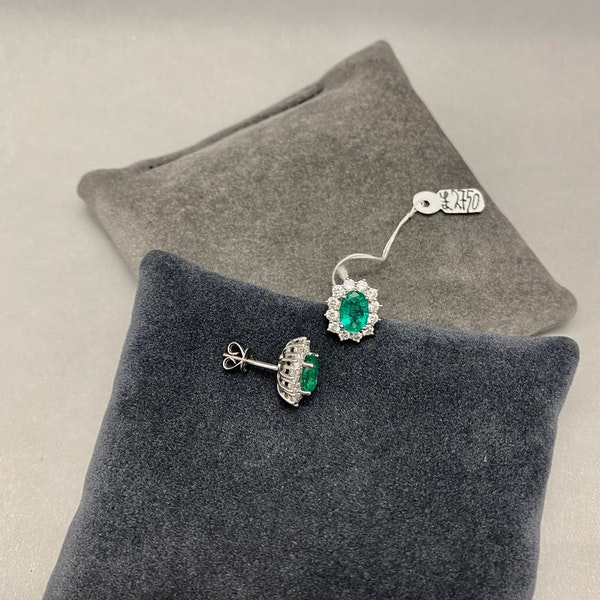 Emerald Diamond Cluster Earrings in 18ct White Gold date circa 1980, SHAPIRO & Co since1979 - image 8