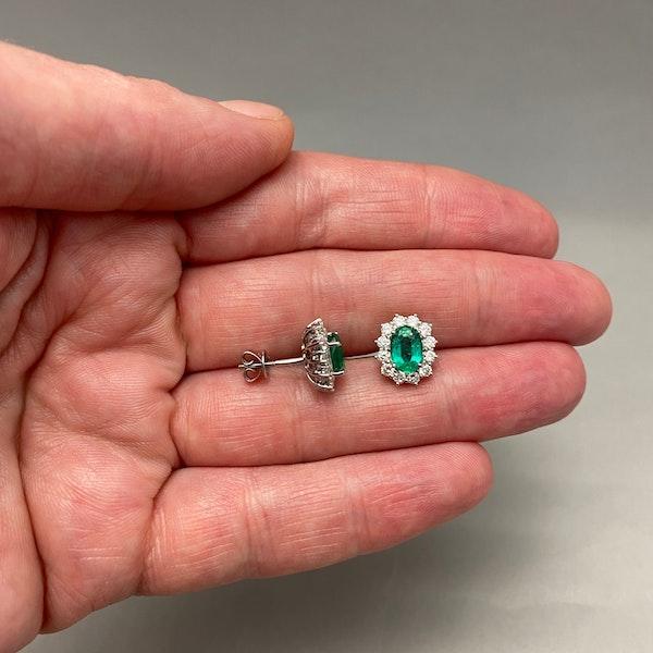 Emerald Diamond Cluster Earrings in 18ct White Gold date circa 1980, SHAPIRO & Co since1979 - image 3