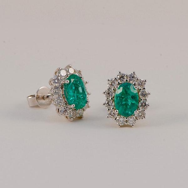 Emerald Diamond Cluster Earrings in 18ct White Gold date circa 1980, SHAPIRO & Co since1979 - image 6