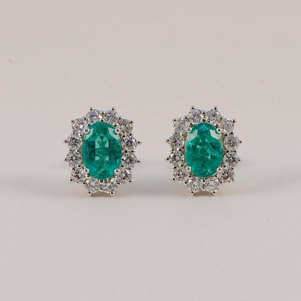 Emerald Diamond Cluster Earrings in 18ct White Gold date circa 1980, SHAPIRO & Co since1979 - image 7