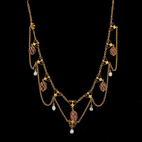 Art Nouveau Swedish pink tourmaline, pearl and enamel necklace - image 2