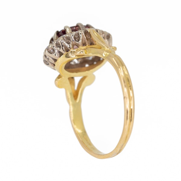 Pink  tourmaline and diamond cluster ring - image 3