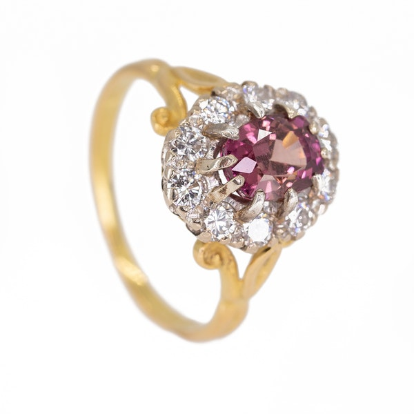 Pink  tourmaline and diamond cluster ring - image 2