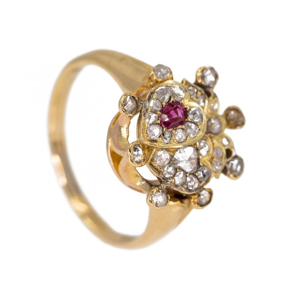 Antique double heart diamond and ruby ring - image 2