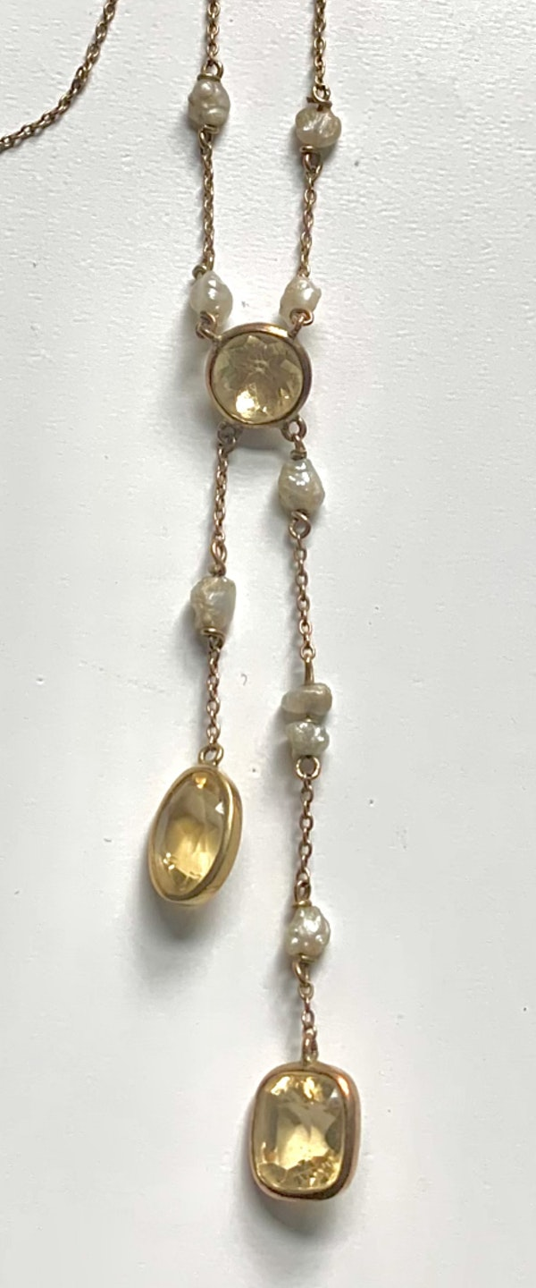 Topaz, citrine and pearl gold drop necklace. Spectrum - image 3