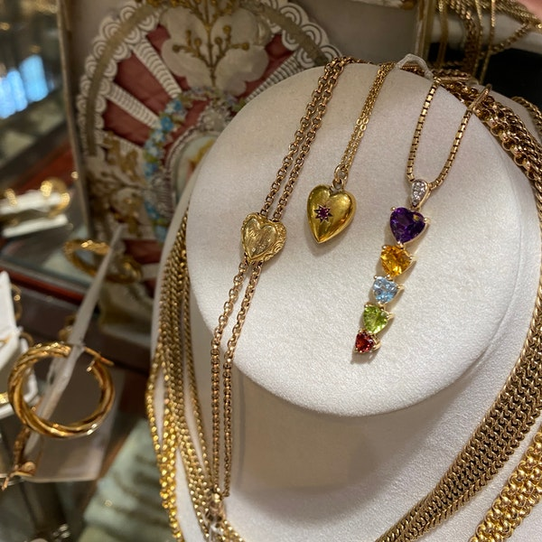 Amethyst, Citrine, Aquamarine, Peridot & Garnet Pendant in 14ct Gold date circa 1990, SHAPIRO & Co since1979 - image 4