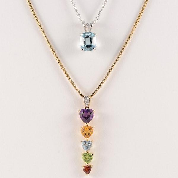 Amethyst, Citrine, Aquamarine, Peridot & Garnet Pendant in 14ct Gold date circa 1990, SHAPIRO & Co since1979 - image 5