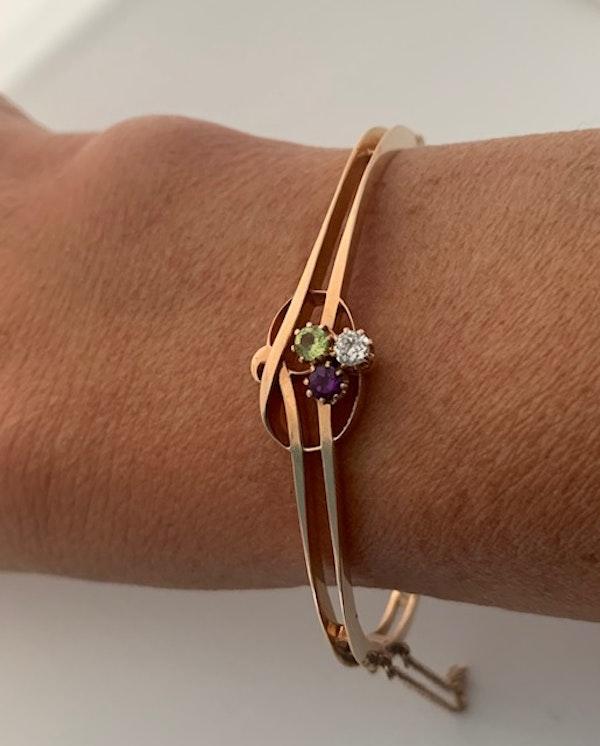 Suffragette diamond, peridot, amethyst bangle. Spectrum - image 2