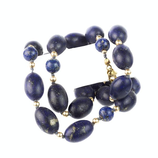 A Set of Antique Lapis Gold Beads - image 1