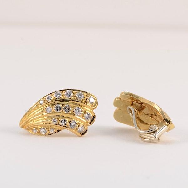 Diamond Clip Earrings in 18ct Gold by Mappin & Webb date London import mark for 1981, SHAPIRO & Co since1979 - image 6