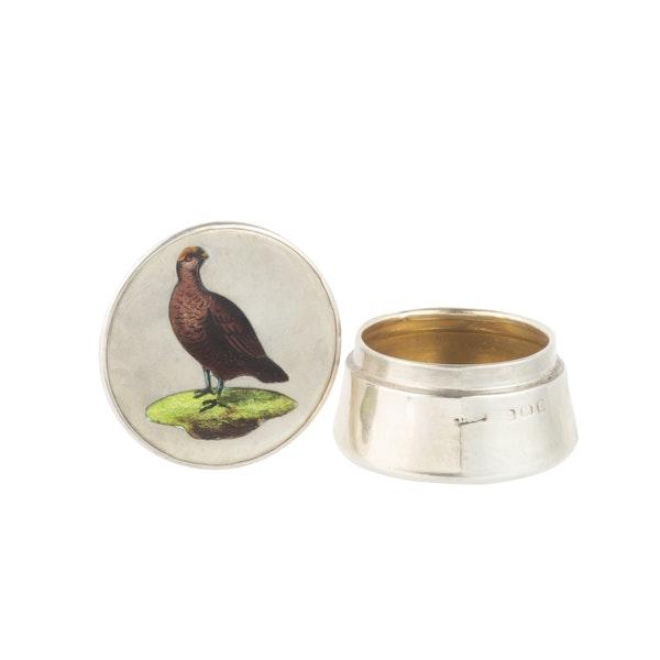 A Silver Grouse Enamel pillbox - image 1