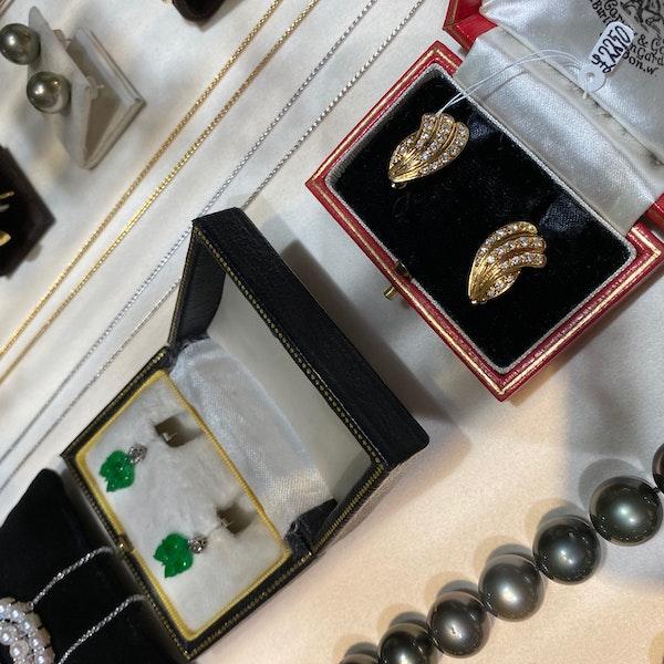 Diamond Clip Earrings in 18ct Gold by Mappin & Webb date London import mark for 1981, SHAPIRO & Co since1979 - image 8