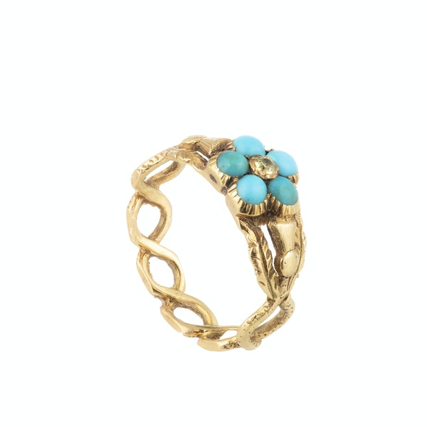 A Gold Turquoise Diamond Ring - image 2