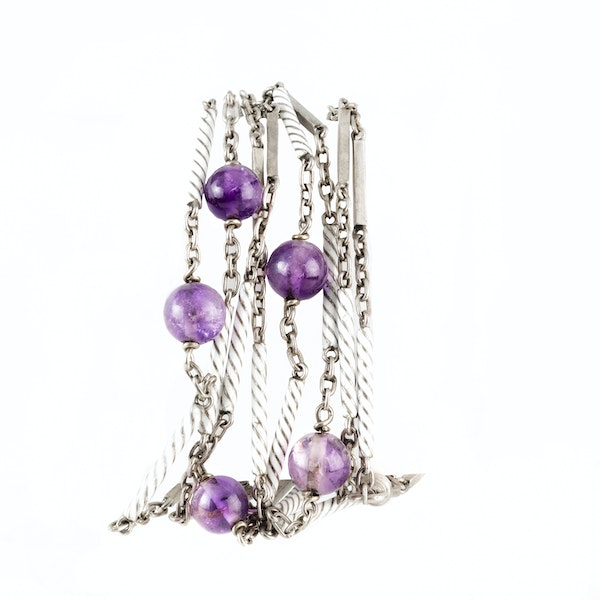 A Silver White Enamel Amethyst Necklace - image 2