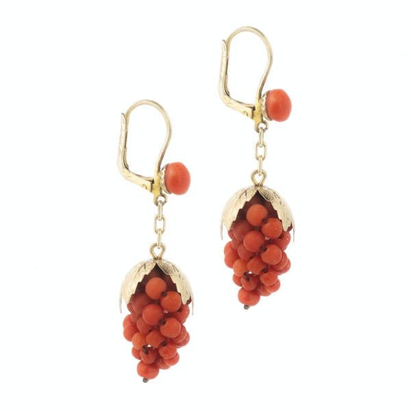 A pair of Silver Gilt Coral Grape Earrings - image 2