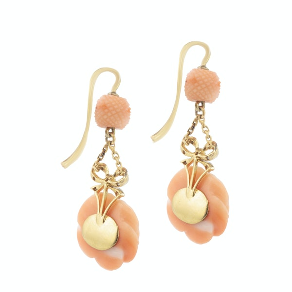 A pair of Coral Diamond Rose Earrings - image 2