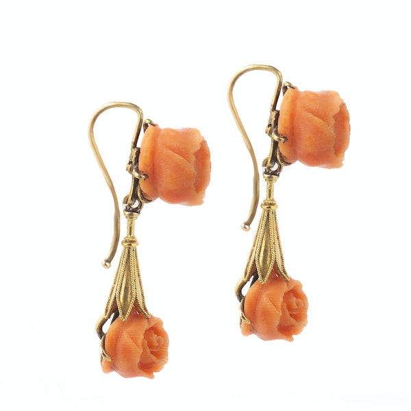 A pair of Coral Gold Rose Earrings - image 2