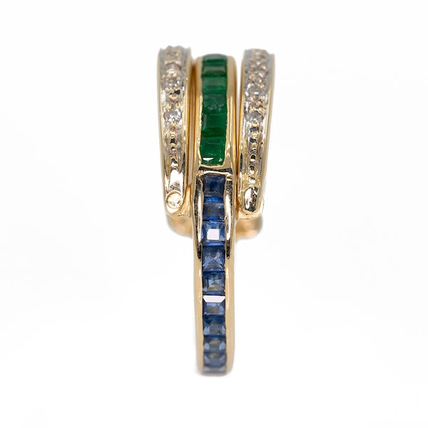 """Flip over """"day/night"""" emerald, sapphire and diamond ring - image 5"""