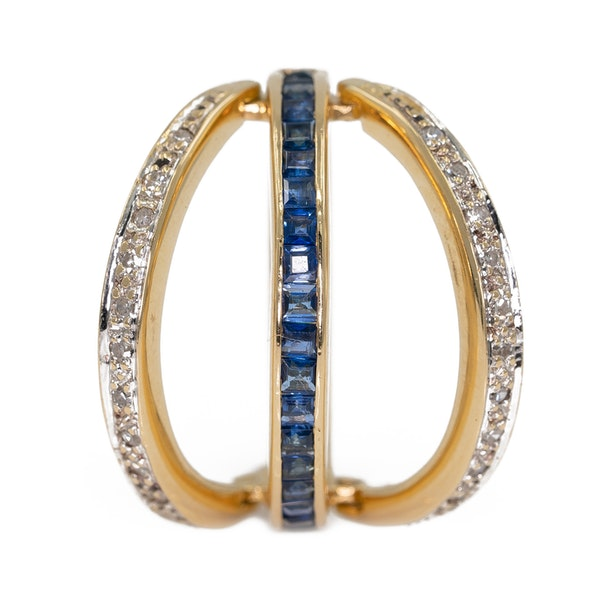 """Flip over """"day/night"""" emerald, sapphire and diamond ring - image 3"""